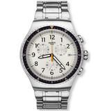 Minimalis Tic Chronograph Beige Dial Watch - Metallic - Swatch Watches