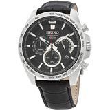 Chronograph Black Dial Black Leather Watch - Black - Seiko Watches