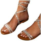 Kanzd Sandals for Women Rhinestone Sexy Lace up Sandals Tie up Dressy Summer Casual Party Flat Sandals for Women White
