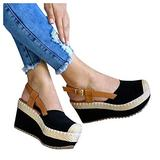 Aniywn Womens Closed Cap Toe Espadrilles Wedge Shoes Platform Heel Ankle Strap Sandals Slingback High Heels Sandals Black