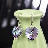 Women Crystal Heart Dangle Hook Earrings, Fashion Drop Earrings Hypoallergenic Jewelry for Girl Amethyst Birthday Gifts for Her (1 Pair Earring + 1 X Gift Box)