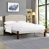 IPKIG Queen Size Platform Bed Frame with Upholstered Headboard - Modern Platform Bed with Square Stitch Headboard and 12 Strong Wood Slat Support, Mattress Foundation, Linen Fabric (Beige, Queen)