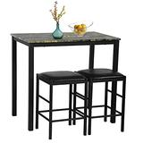 Dining Table Set 3 Pieces Kitchen Dining Room Table Set Rectangular Marble Table and 2 Cushion Chair Small Space Furniture Contemporary Kitchen Breakfast Nook,for Home Hotel Dining Room Kitchen Bar