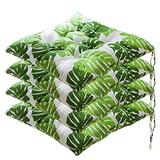 WEIGE Set of 4 Dining Room Chair Cushions seat Cushions with Ties Filled with Cotton Quilted Design Square Chair Cushions for The Kitchen Dining Room Garden Office car (Green Leaf) WEI