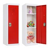 Greenvelly Kids Locker, Steel Kids Lockers for Bedroom with Adjustable Shelves, Metal Kids Storage Locker with 2 Keys and Door for Kids Room, Home,School(Red)