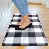 "Kitchen Mat Cushioned Anti-Fatigue Floor Mat, Waterproof Non-Slip Kitchen Rug Standing Mat Ergonomic Comfort Floor Mat Rug for Kitchen, Home, Office, Sink, Laundry, Desk (17.7""x30"", Black Plaid)"