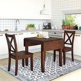3-Piece Wood Drop Leaf Dining Table Set with 2 X-Back Chairs, Space-Saving Breakfast Nook Dining Set, Brown