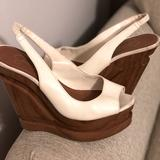 Jessica Simpson Shoes | Jessica Simpson Alexy Wedge Heel | Color: Brown/White | Size: 7