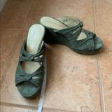 Anthropologie Shoes | Anthropologie Green Suede Wedge Slide On Sandals | Color: Green | Size: 6