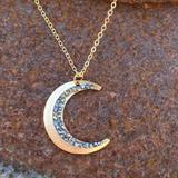 Free People Jewelry | New Crescent Moon Pendant Necklace | Color: Black | Size: Os