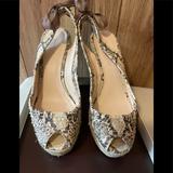 Coach Shoes | Coach Maritza Snakeskin Espadrille Peep Toe Wedge | Color: Tan | Size: 8