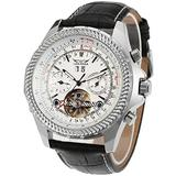 Luxury Men's Skeleton Tourbillon Calendar Wrist Watch Stainless Steel Automatic Watches Classic Big Face Watch Unique Mechanical Wrist Watch (Leather White)