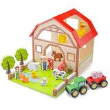 New Classic Toys Wooden Farm House Playset Educational Toys and Color Perception Toy for Preschool Age Toddlers Boys Girls