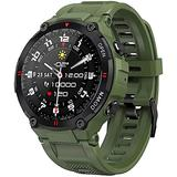 Smart Watch Waterproof Sports Watches Outdoor Activity Trackers with Heart Rate Monitor Pedometer and Distance Calculation Fitness Tracker Watch-Army Green