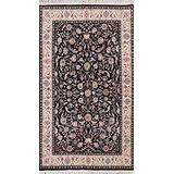 Black Floral Aubusson Chinese Area Rug Hand-Knotted Wool Carpet 5x8 (5' 1'' x 8' 0'')