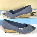Coach Shoes | Coach And Four Peep Toe Wedge | Color: Blue | Size: 8.5