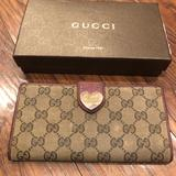 Gucci Bags   Auth Gucci Red Leather Heart Abbey Bifold Wallet   Color: Brown/Red   Size: Os