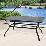 """Patio 6-Person Steel Frame Dining Table Outdoor Rectangular Table with 1.57"""" Umbrella Hole"""