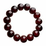 YUEXING Natural Gemstone Bracelets Blood Horn Bangle Red Coral Resin Jewelry 16mm Unisex Round Beads Stretch Cuff Bangle for Women Men Girls Birthday Gifts