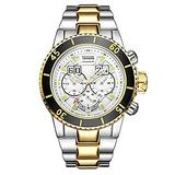 Men's Sports Large dial Calendar Waterproof Steel Band Quartz Watch, Gold and White face