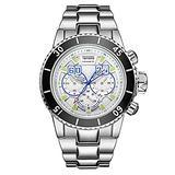 Men's Sports Large dial Calendar Waterproof Steel Band Quartz Watch, Silver White face