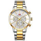 Business Multifunctional Waterproof Quartz Watch Luminous Steel Band Men's Watch, Steel Case White Face
