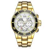 Men's Sports Large dial Calendar Waterproof Steel Band Quartz Watch, Gold White face