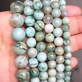 BDI214339 Beadings Natural Myanmar Jades Stone Beads 6 8 10 12mm Round Emeralds Jades Beads for Jewelry Making DIY Bracelet Accessorie 15'' - ( Dia: 6mm About 61pcs )