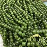 BDI082651 Beadings 6/8/10/12mm Canada Jades DIY Round Beads Authentic Stone Loose Beads for Russia Jewelry Making Bracelet Necklace Accessories - ( Type: Canada Jade/ Dia: 10mm )