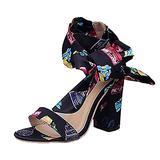 Women High Heels Sexy Gladiator Rome Sandals Summer Ribbon Pumps Lady Shoe Party Dress Print Heels Sandals(Black,39)