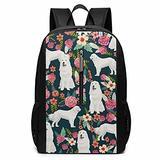 NiYoung Boys Grils Backpack Back to School Gift - Great Pyrenees Dog Pink Flowers Floral Shoulder Bag School Daypack Backpack Travel Hiking Bag & Day Pack, Casual Daypack Climbing Shoulder Bag