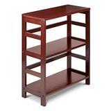 PJ Wood 3 Tier Bookshelf Ladder Shelf Bookcase with Wide Storage Shelves, Multifunctional Storage Rack - Espresso