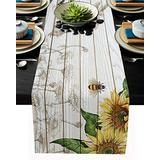 Shinyhouse Summer Table Runner, Sunflower Honey Bees Farm Wood Fabric Farm Table Decorations for Dining Room, Kitchen, Living Room, Holiday, Party, 13x90in