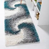 Rugs.com Soft Touch Shag Collection Runner Rug – 6 Ft Runner Turquoise Shag Rug Perfect for Hallways, Entryways