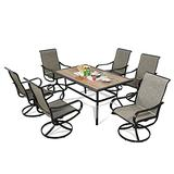 Iwicker 7 Pieces Patio Dining Set Outdoor Textilene Mesh Fabric Swivel Dining Chairs Set of 6 with Wood-Like Rectangular Dining Table