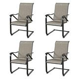 Iwicker Patio C Spring Motion Black Steel Mesh Fabric Dining Chairs with High Back (4)