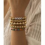 Street Region Women's Bracelets Gold - 18k Gold-Plated 'Love' Letter Beaded Stretch Bracelet Set