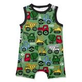 PeppyMini Boys' Rompers - Black & Green Construction Vehicles Sleeveless Romper - Infant & Toddler