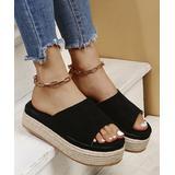 PAOTMBU Women's Sandals BLACK - Black Platform Espadrille - Women