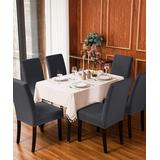 Subrtex Indoor Furniture Covers Gray - Gray Knit Dining Chair Slipcover - Set of Four