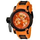 Invicta Russian Diver Quartz Watch - Black Orange case with Black Orange tone Stainless Steel Polyurethane band - Model 11335