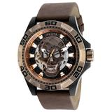Invicta Disney Limited Edition Pirates of the Caribbean Men's Automatic - 48mm Stainless Steel Case Brown Dial with Brown Leather Strap - Model 25228