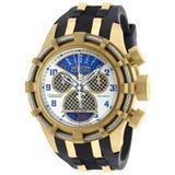 Invicta Bolt Quartz Mens Watch - 50mm Stainless Steel Case SS/Polyurethane Band Gold Black (90023)