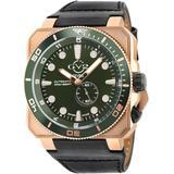 Xo Submarine Swiss Automatic Leather Strap Watch - Black - Gv2 Watches