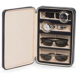 Black Leather Two Watch & Two Sunglass Travel Case At Nordstrom Rack - Black - Bey-berk Cases