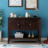 Darby Home Co TREXM Cambridge Series Buffet Sideboard Console Table w/ Bottom Shelf (Dark Blue) Wood in Brown, Size 34.0 H x 46.0 W x 15.0 D in