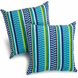 """Darby Home Co Menzies Outdoor 17"""" Throw Pillow Polyester/Polyfill/Polyester/Polyester blend in Blue, Size 17.0 H x 17.0 W x 8.0 D in   Wayfair"""