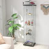 Wade Logan® Rosenzweig Floor Standing 4-Shelf Glass Display Cabinet w/ Door Wood/Glass in Black, Size 64.0 H x 14.5 W x 17.0 D in | Wayfair