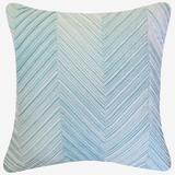 Chevron Velvet Decorative Pillow by Levinsohn Textiles in Duck Egg