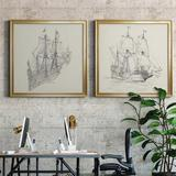 Breakwater Bay Antique Ship Sketch III Antique Ship Sketch III - 2 Piece Picture Frame Drawing Print Set Canvas & Fabric/Metal in Brown/Gray/Green